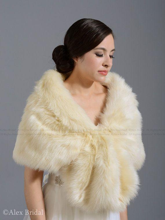Champagne faux fur wrap bridal wrap faux fur shrug by alexbridal