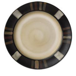 """Pfaltzgraff Everyday Tahoe Dinner Plate, 11"""" by Pfaltzgraff Everyday. $5.99. Tahoe stoneware dinnerware uses a soft neutral color palette to create a warm casual feeling. The border is decorated with alternating bands in muted shades of black, beige & red, that sets off the beige interior. This beautiful set will complement any homes decor. Due to the nature of reactive glaze, each piece of this handcrafted collection will exhibit unique variations in color and pattern..."""