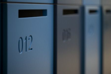 Activelocker with routed numbers #interiors #commercial #lockers #design #architecture #blue