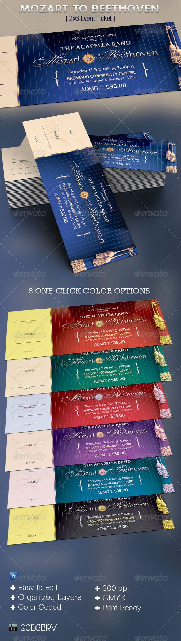 Mozart to Beethoven Event Ticket Template - $6.00