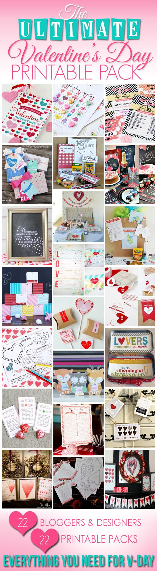 121 Pages of cute Valentine's Printables for ONLY $7?!!!  Anything and everything anyone would ever need to pull off the best Valentine's Day ever.