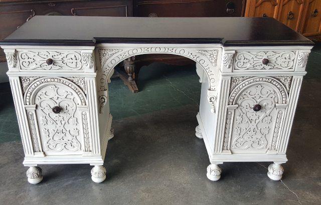 Ornately Detailed Desk In Our Antiqued Cream Finish White