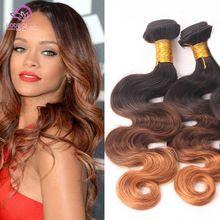 Vendita calda 6a capelli brasiliani ombre brasiliano onda del corpo 1b/4/30 ombre estensioni dei capelli umani 3 bundles 3 tonalità di colore WOB101(China (Mainland))