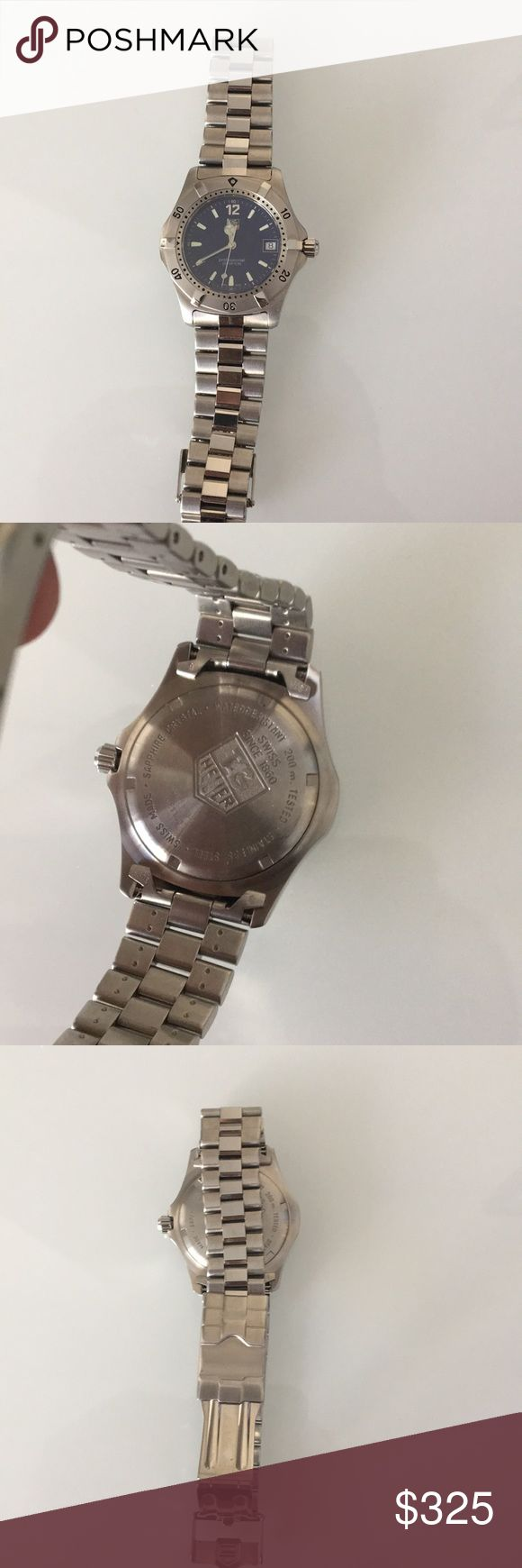 Men's Tag Heuer professional watch no scratches Beautiful Tag Heuer men's watch barely worn. Authentic needs new battery but has zero scratches and is a beautiful present. Retails at $1650 Tag Heuer Accessories Watches