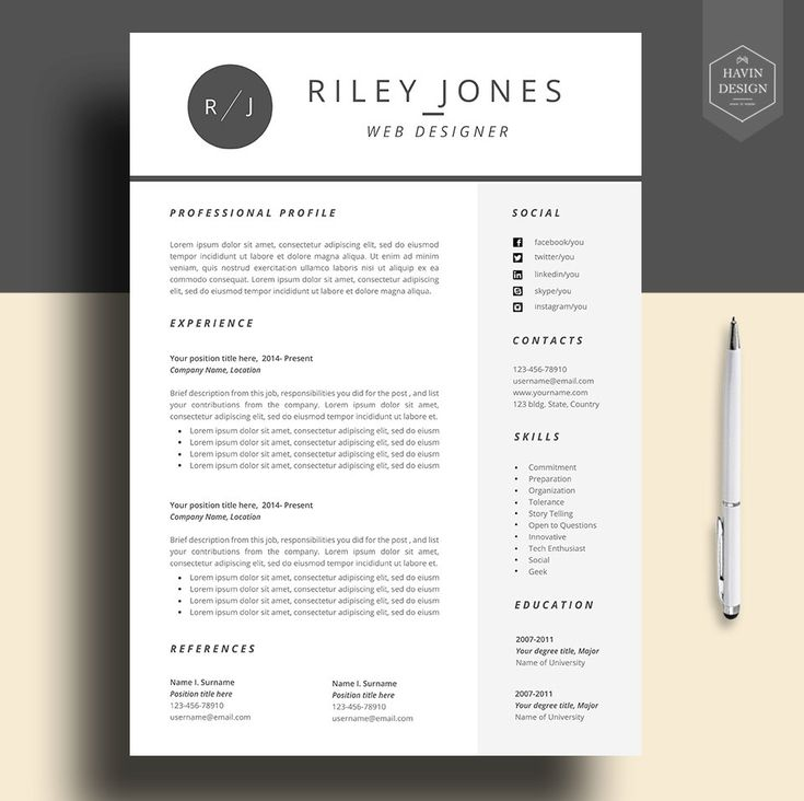 Word Cv Templates 2007%0A Professional resume template  cv template  resume template for word  FREE  cover letter