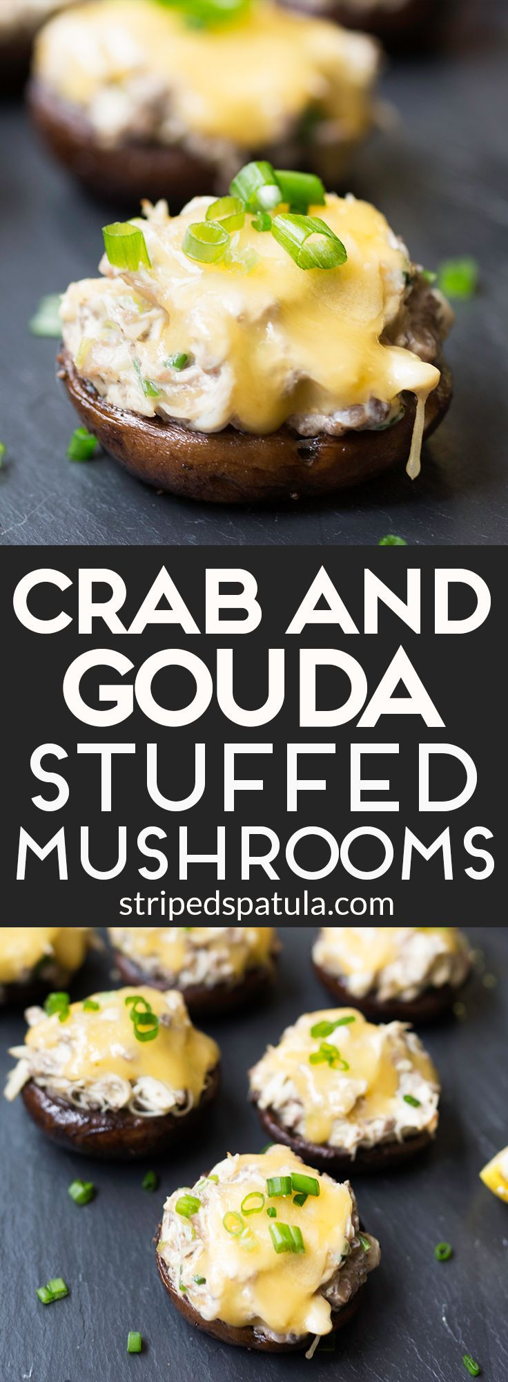 Rich Crab and Gouda Stuffed Mushrooms, with sweet lump crabmeat, garlic, and Dijon, are a perfect appetizer or side dish for any celebration.