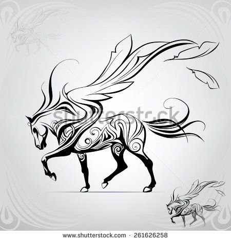 Pegasus walking against the wind  - stock vector