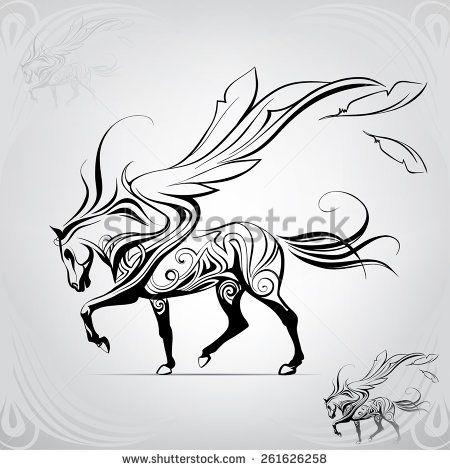 Pegasus walking against the wind  - stock vector
