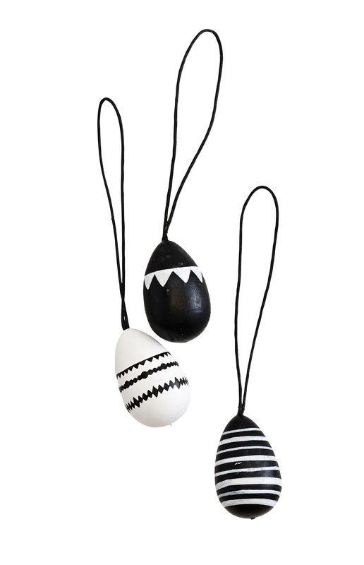 Set van 12 paaseieren - zwart/wit