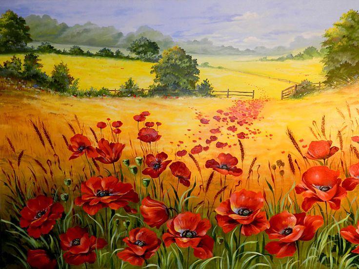 Die Malerische Landschaft Feld Mit Mohnblumen Resim Sanati Soyut Sanat Tablolari Yeni Baslayanlar Resim