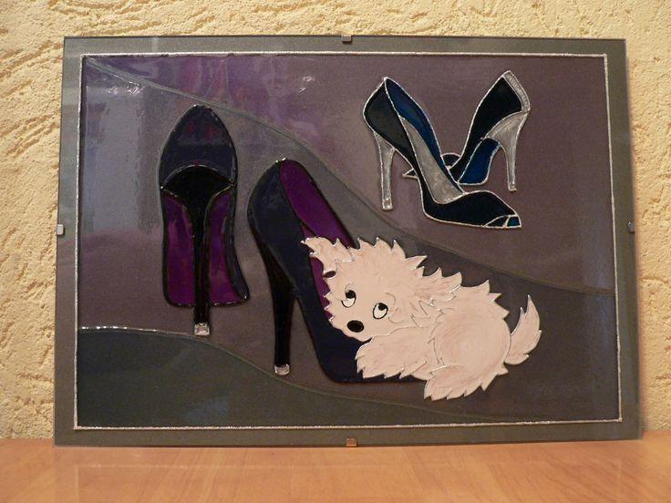 glass painting - Dog = Üvegfestés - Kutya