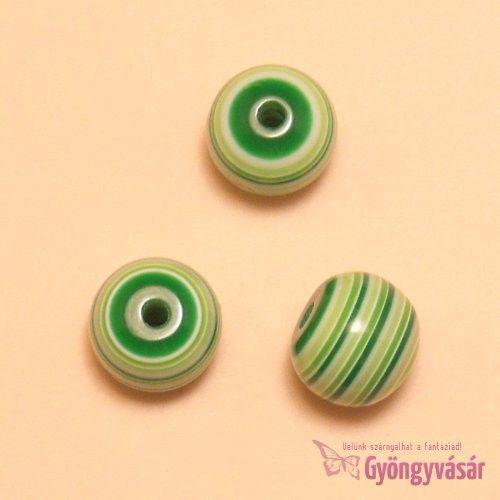 Zöld csíkos golyó, 10 mm-es akril gyöngy • Gyöngyvásár.hu