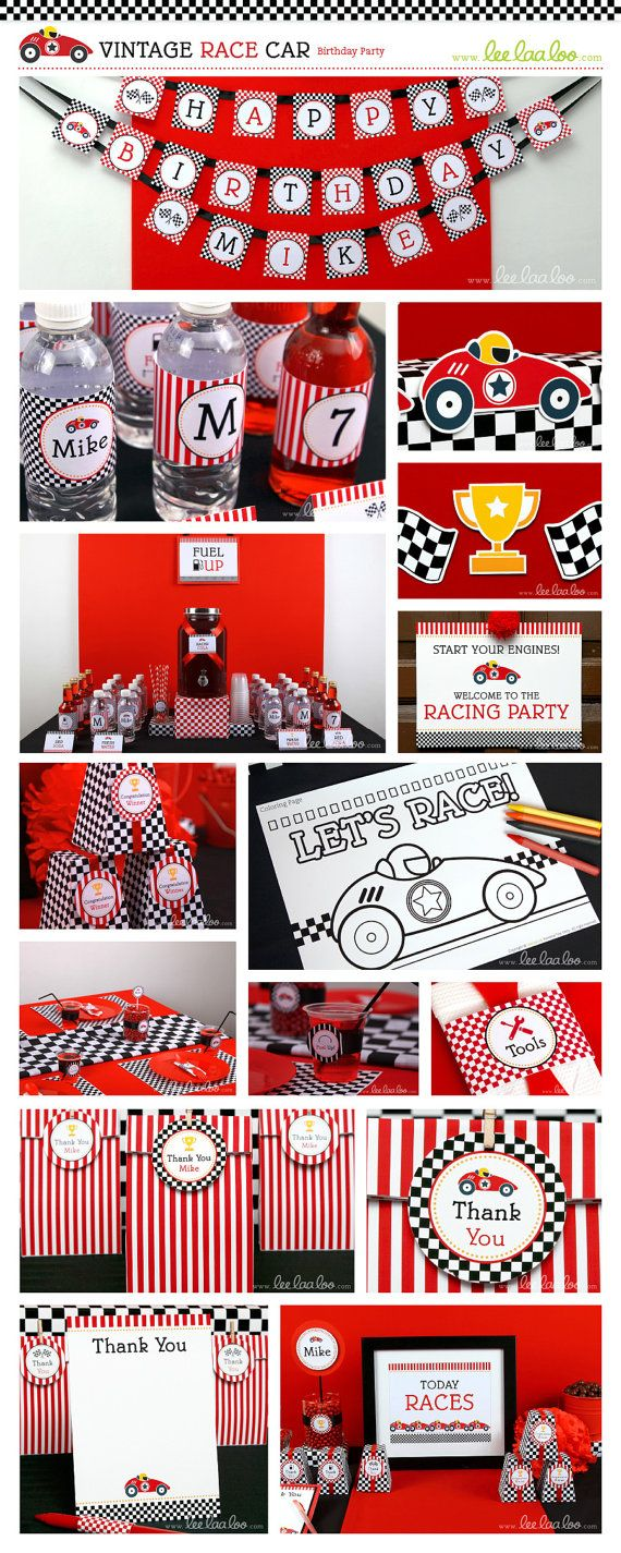 Race Car Birthday Party Package Collection Set Mega by LeeLaaLoo