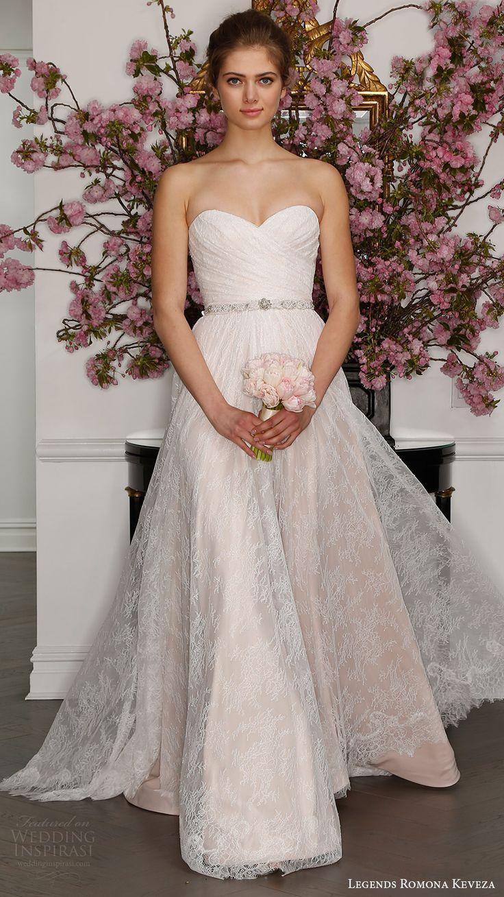 legends romona keveza bridal spring 2017 strapless sweetheart draped bodice lace aline wedding dress (l7128) mv blush color