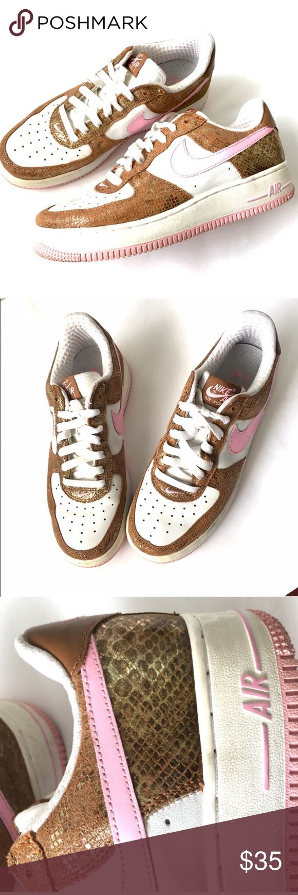 Nike Air pink white bronze snake size 8.5 Cute shoes in great condition. Skater style. Pet and smoke free home. Nike Shoes Athletic Shoes