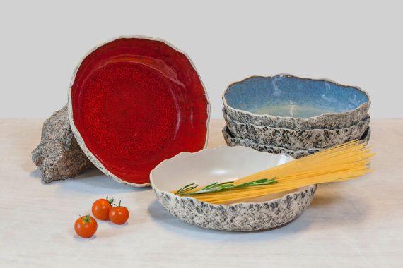 Handmade ceramic pasta bowls  by KARI CERAMICS on Etsy