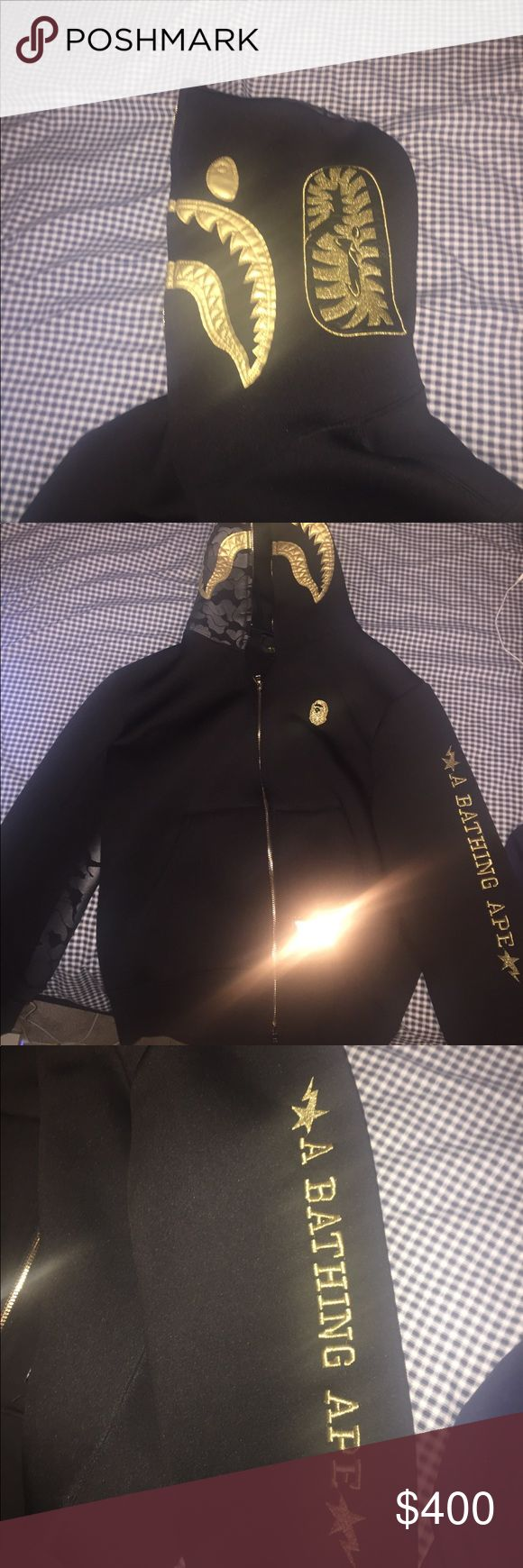 Black & Gold BAPE x TRAVIS SCOTT Shark Hoodie Authentic A Bathing Ape Hoodie x Travis Scott Shark Hoodie. Black & Gold. Size L. Only worn a couple times. Great Condition BAPE Shirts Sweatshirts & Hoodies