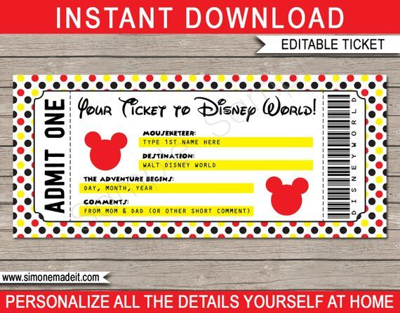 Printable Ticket To Disney World Surprise Trip Birthday Gift Walt Disney World Disneyworld Instant Download With Editable Text Printable Tickets Disney World Tickets Disneyland Tickets