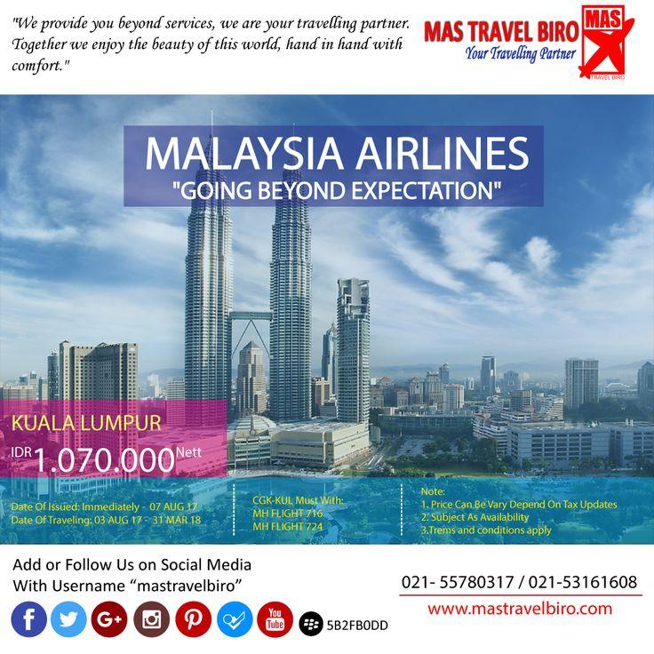 """Terbang ke Kuala lumpur dengan maskapai """"MALAYSIA AIRLINES"""", cuma RP.1.070.000. Booking yukk, sekarang 😁  #Mastravel #Seninceria #Promo #ticket"""
