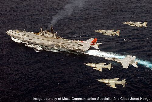 Jaguars flying near the INS Viraat aircraft carrier during Malabar exercise.