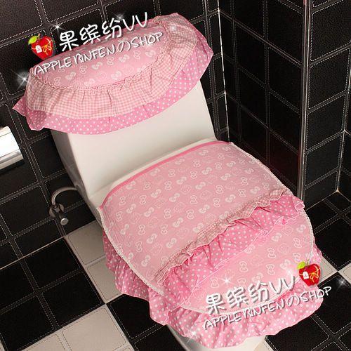 3 unids/set de Dibujos Animados hello kitty rosa de encaje de impresión grueso conjunto inodoro baño tapa del inodoro tapa del inodoro cojín cubierta del tanque de baño estera