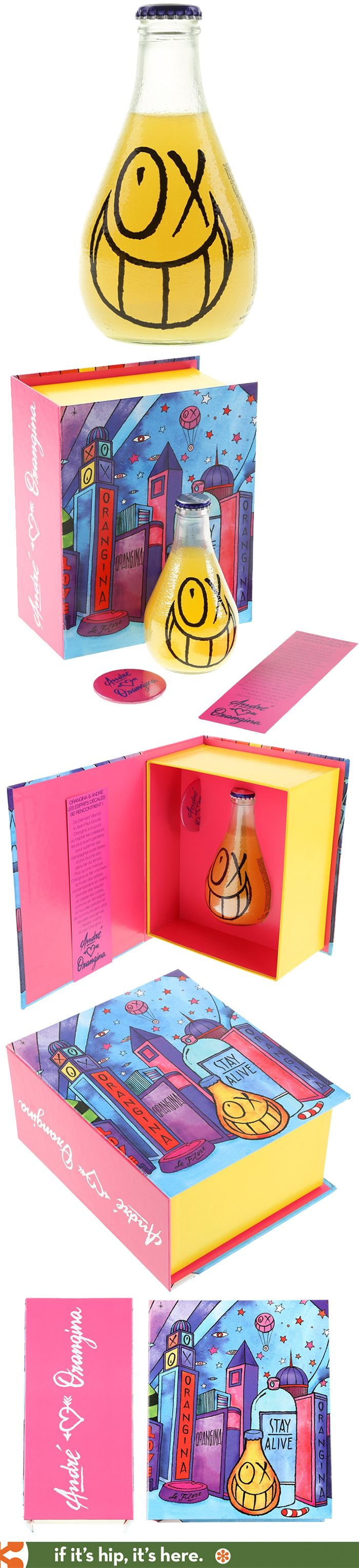 Special boxed edition of bottled Orangina by artist André