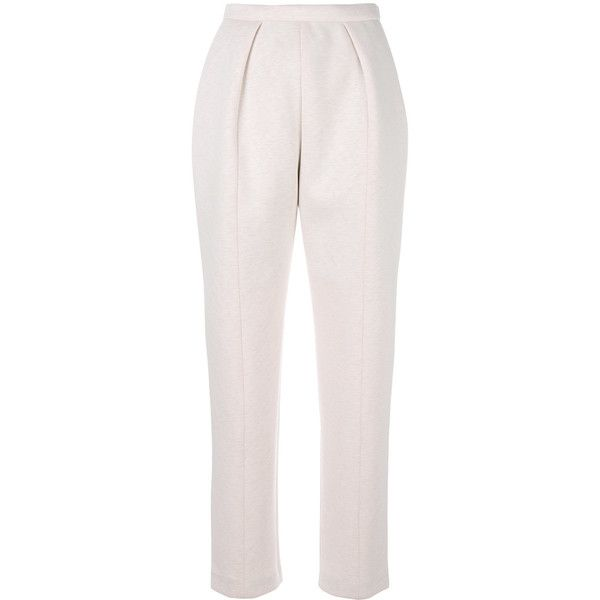 Delpozo tapered trousers ($1,249) ❤ liked on Polyvore featuring pants, pink, pink pants, tapered pants, tapered trousers, taper cut pants and pink trousers