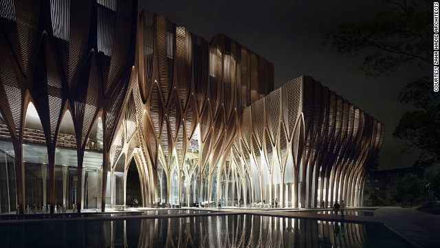 Zaha Hadid Sleuk Rith Institute in Cambodia. Designed by starchitect Zaha Hadid, the structure marks her first major use of wood, using sustainably sourced timber, according to the designer.