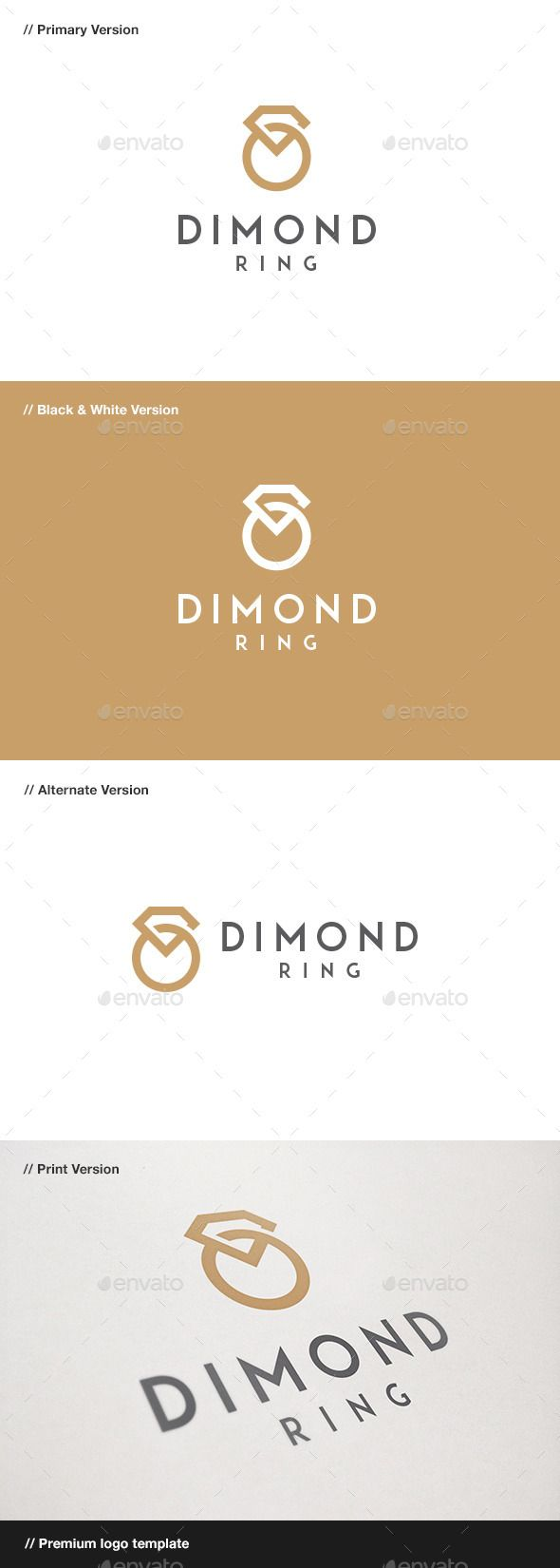 Diamond Ring Jewelry  - Logo Design Template Vector #logotype Download it here: http://graphicriver.net/item/diamond-ring-jewelry-logo/9222381?s_rank=969?ref=nesto