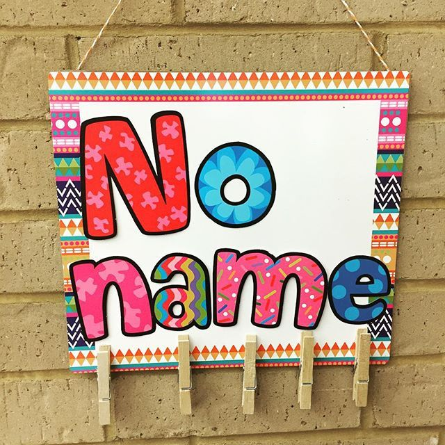 No name sign was made with a white board, letters, and clothes pens! How cute is that! #dollargeneralfinds #classroomdecor #iteachtoo #iteachfirst