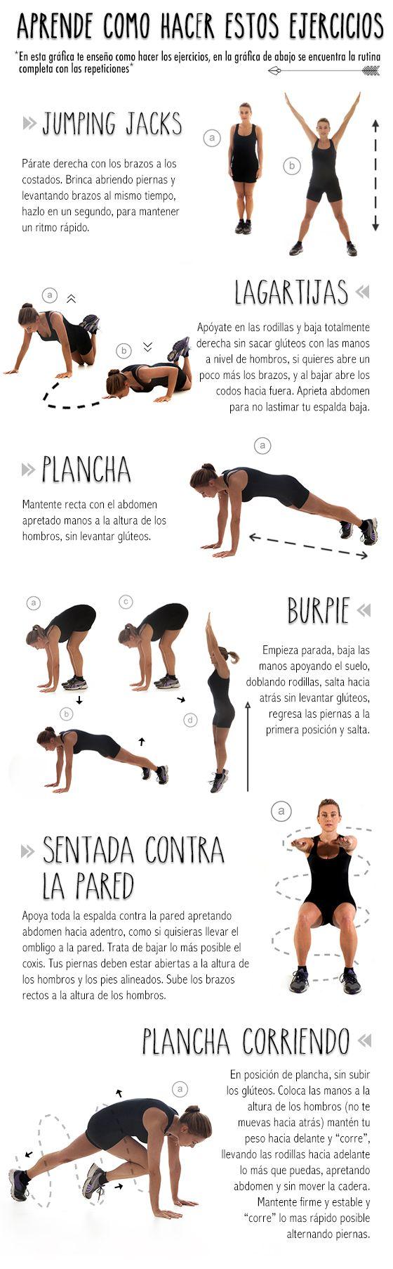 • APRENDE COMO HACER ESTOS EJERCICIOS • 1) jumping jacks. 2) lagatijas. 3) plancha. 4) burpie. 5) sentada contra la pared. 6) plancha corriendo.