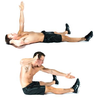 Upper Abs Exercise 1: Wide-Leg Cross Sit Ups