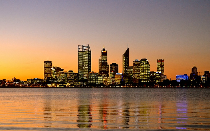 Stunning view of the #perth skyline just before dusk.