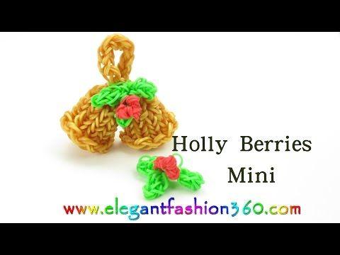 Rainbow Loom Mini Holly Berries Charm for Jingle Bells - How to Loom Bands Tutorial - YouTube
