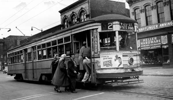 cleveland trolley car 4068 at west 25th st and bridge ave in cleveland ohio cuyahogaville. Black Bedroom Furniture Sets. Home Design Ideas