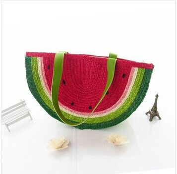 Watermelon straw bag fresh women's handbag shoulder bag woven beach bag