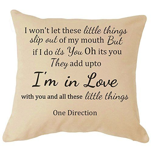 One Direction Lyrics Cushion, Price: 	$27.99 http://astore.amazon.com/1dstore-20/detail/B00T5C6T04