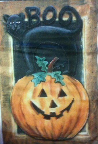 Cat Pumpkin Halloween Garden Flag by Evergreen. $5.99. 3-ply construction heavier and more durable. True double-sided, message can be read on both sides. Permanent dye. Garden Flags make a great home and garden decoration for every season and reason!