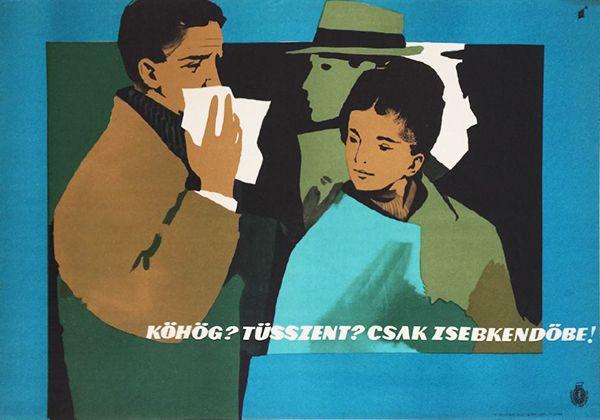 Gunda Antal - Cough? Sneeze? Always into the tissue! 1965 original Hungarian propaganda poster