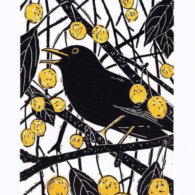 Blackbird - Original limited edition linocut print. Gary & Heather
