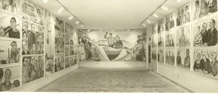 "Black and white photograph of the interior of the mural barn showcasing the Alice Stallknecht murals ""Christ Preaching to the Multitude"", (pictured center)  ""The Circle Supper"", and ""Every Man to His Trade"". Murals depict members of the town of Chatham, MA from the time periods of 1931 to 1945.  View of the room from the barn doors as Alice would have viewed the murals when she entered the barn. Benjamin G. Sawin, photographer #alicestallknecht, #muralbarn, #chatham…"