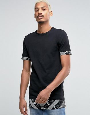 ASOS Super Longline Muscle T-Shirt With Paisley Sleeve And Hem Extenders With Side Zips