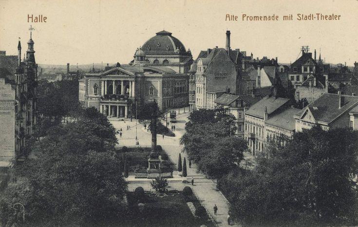 Halle (Saale), Sachsen-Anhalt: Alte Promenade mit Stadttheater