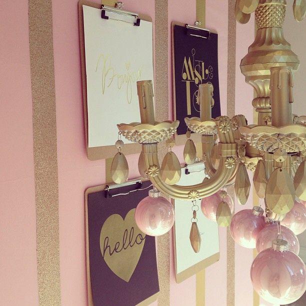 pink + gold glitter striped walls // clipboard gallery wall