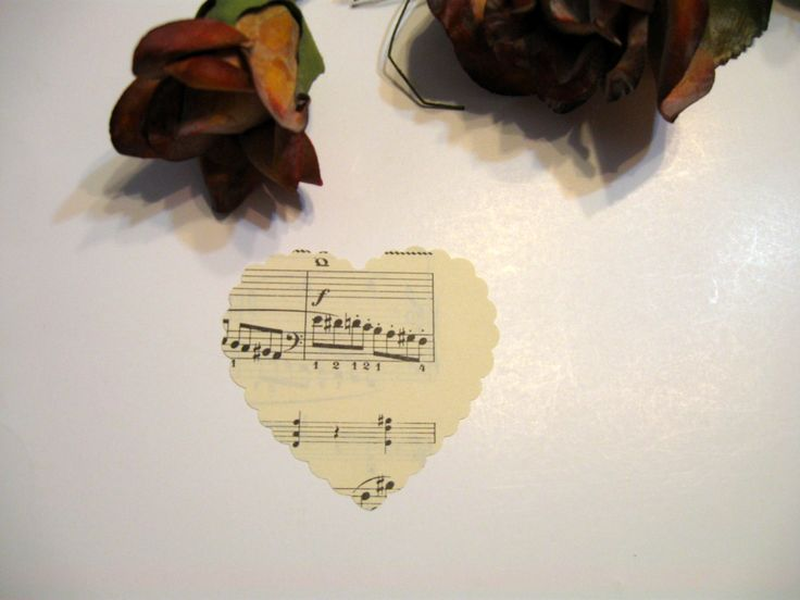 Scallop Hearts, 100 Hearts, Altered Art, Vintage Sheet Music Hearts, Scrap Booking Supplies, Vintage Hearts, by NormaSuppliesandKits on etsy by NormaSuppliesandKits on Etsy