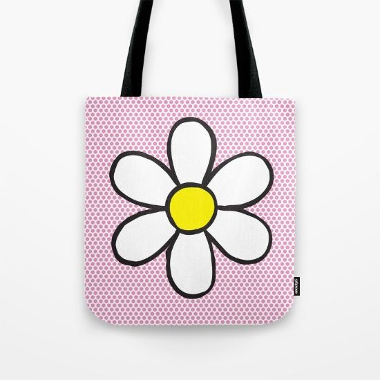 Tote Bag - Daisy on Pink #popart #totebag #society6