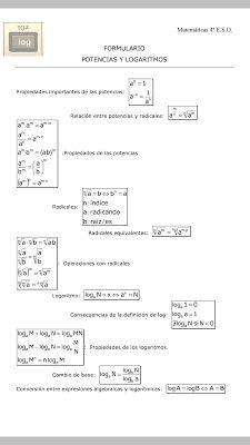 BLOG DEL DEPARTAMENTO DE CIENCIAS Y TECNOLOGÍA : Logaritmos y radicales resumen