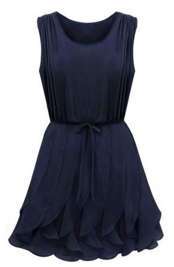 Navy Sleeveless Ruffles Pleated Chiffon Dress - Sheinside.com Mobile Site