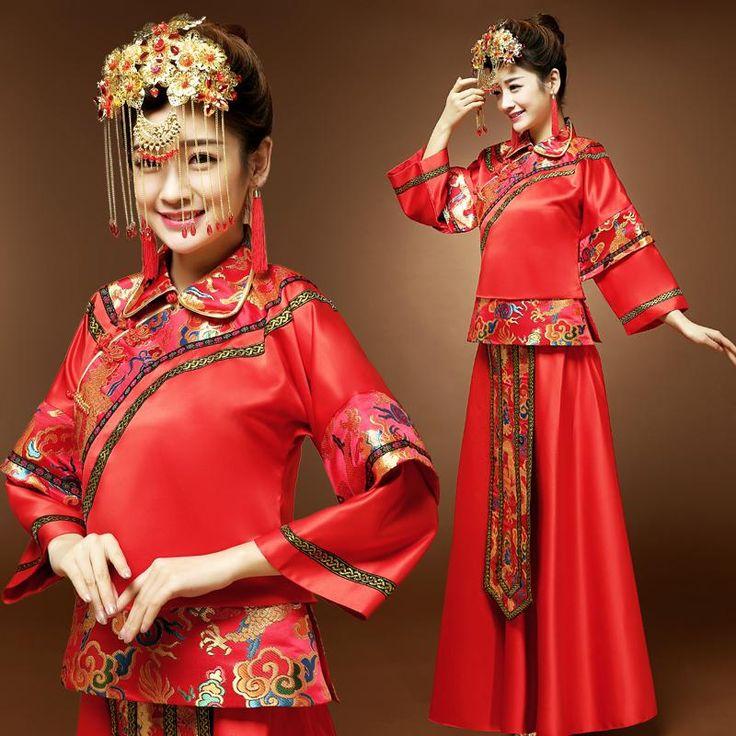 Versandkostenfrei braut abendkleid cheongsam kleid chinese style hochzeit kleid kimono tang-anzug kleidung zeigen pratensis(China (Mainland))