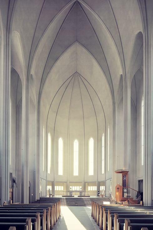 Hallgrímskirkja Reykjavik innen raum chor k